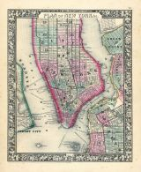 New York, Brooklyn, Manhattan, Jersey City, Hoboken, World Atlas 1864 Mitchells New General Atlas